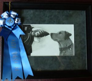 "1st in Pencil & Graphics - Pamela Corwin, ""The Handler & His Dog"""